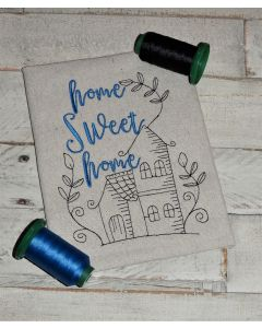 Home Sweet Home House Drawing Embroidery Design
