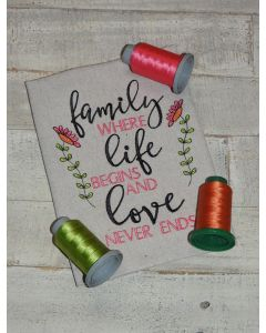 Family Life Love Embroidery Design