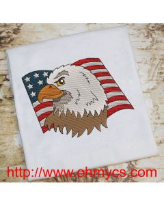 Watercolor Eagle Flag USA Embroidery Design