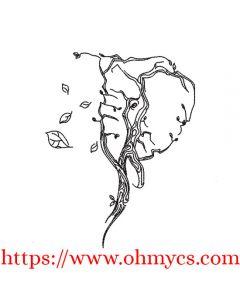 Elephant Tree Sketch Embroidery Design