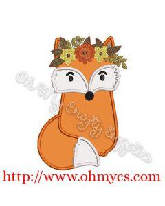 Fall Crown Fox Applique Design