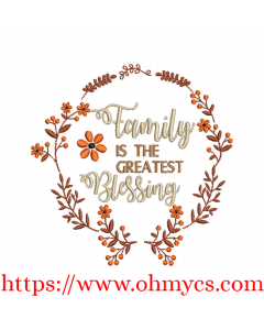 Family Blessing Embroidery Design