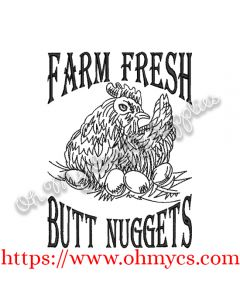 Butt Nuggets Chicken Sketch Embroidery Design