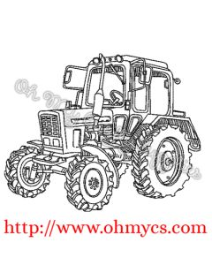 Farm Tractor Sketch Embroidery Design