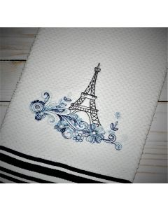 Another Floral Eiffel Tower Embroidery Design