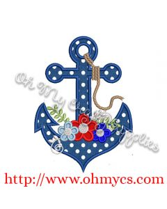 Floral Anchor with Rope Applique Design
