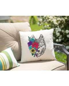 Floral Wolf Embroidery Design