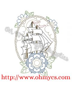 Henna Ship with Border Embroidery Design