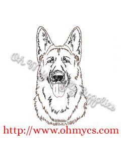 Sketch of German Shepherd Embroidery Design