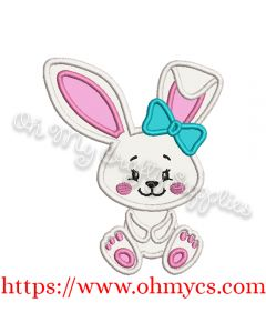 Girl Bow Bunny Applique Design