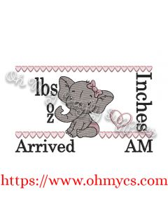Baby Girl Elephant birth Announcement Embroidery Design