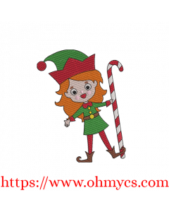 Jolly Christmas Girl Elf Embroidery Design