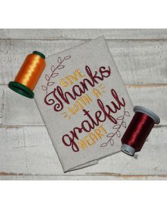 Give thanks with a grateful heart Embroidery Design