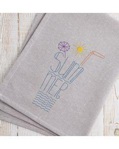 Glass Full of Summer Line art Embroidery Design