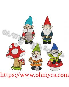 Garden Gnome Set Embroidery Design