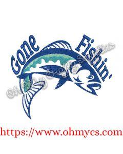 Gone Fishin' Embroidery Design