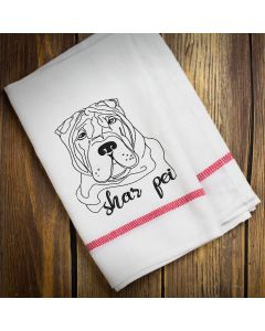 Hand Drawn Shar Pei Embroidery Design