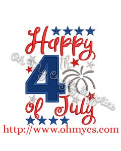 Happy 4th of July Applique Design