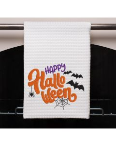 Happy Halloween Bats and Spiders Embroidery Design