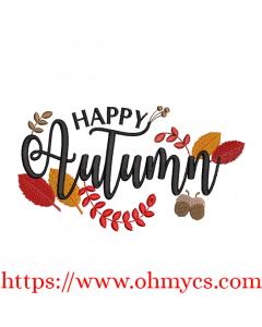Happy Autumn 2 Embroidery Design