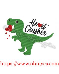 Heart Crushing Dinosaur Embroidery Design