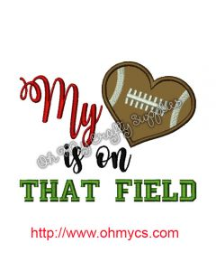 My heart is on the field Applique Design