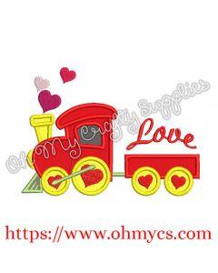 Heart Train Applique Embroidery Design