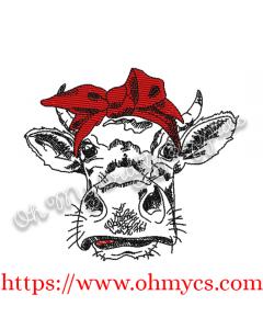 Heifer with Headband Embroidery Design