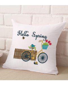 Hello Spring Bike Embroidery Design