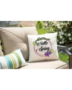 Hello Spring Floral Circle Embroidery Design