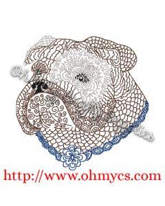 Henna Bulldog Embroidery Design