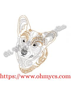 Henna Corgi Embroidery Design
