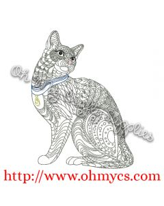 Henna Cat 2 Embroidery Design