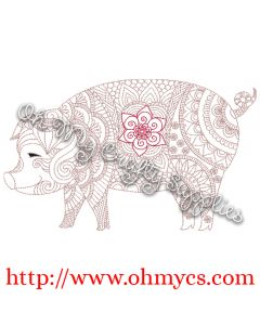Henna Pig Embroidery Design