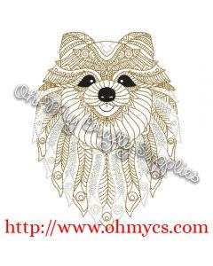 Henna Pomeranian Embroidery Design