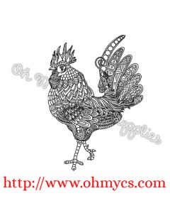 Henna Full Body Rooster 2 Embroidery Design