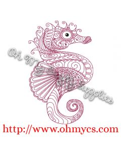 Henna Sea Horse Embroidery Design
