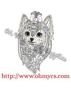 Henna Yorkie Embroidery Design