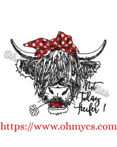 Highland Heifer Cow Embroidery Design