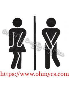 His or Her Restroom Embroidery Design