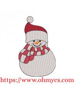 Happy Jolly Snowman Embroidery Design