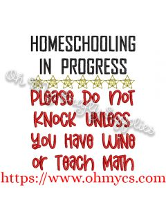 Homeschooling Wine Embroidery Design