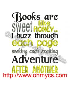 Buzzing Books Embroidery Design