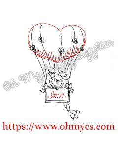Hot Air Balloon Couple Embroidery Design