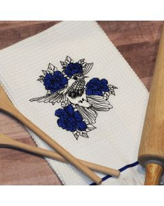 Hummingbird and Flowers Sketch Embroidery Design
