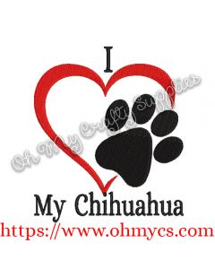 I Heart My Chihuahua Embroidery Design