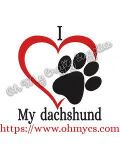 I Heart My Dachshund Embroidery Design
