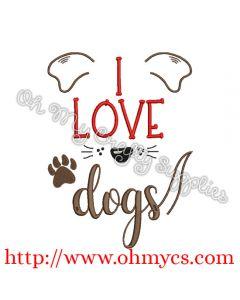 I love dog embroidery design
