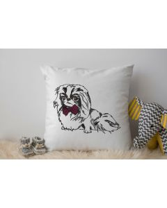 Japanese Chin Dog Sketch Embroidery Design