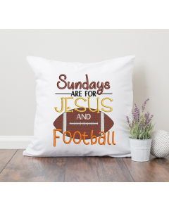 Sunday for Jesus and Football Embroidery Design